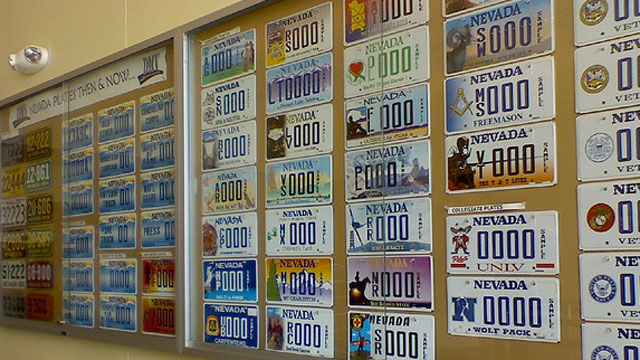 PHOTO: License plates adorn a wall at a Nevada Department of Motor Vehicles office in July 2009.