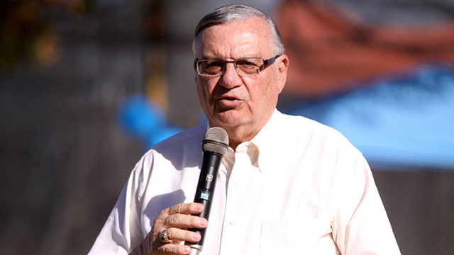 PHOTO: Maricopa County Sheriff Joe Arpaio speaks to Republican Party supporters at a festival in Mesa, Arizona in October 2012.