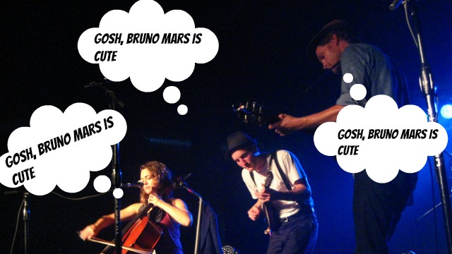 PHOTO: The Lumineers aren't immune to Bruno Mars' charms. (According to our fanfic, anyway.)