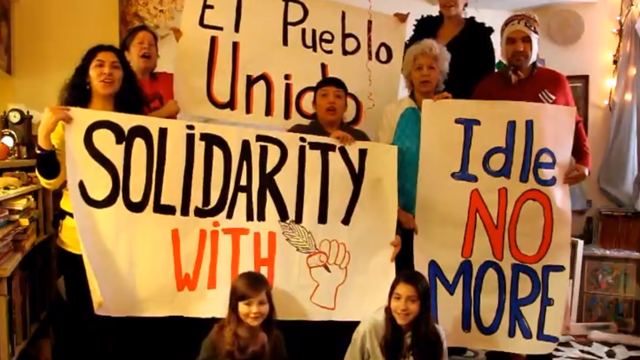 PHOTO: A group of Latinos in Toronto, Canada show their solidarity with the Idle No More movement.