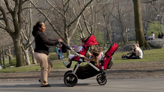 """PHOTO:A nanny pushes a stroller in New York Citys Central Park, just blocks away from the residence where Felicitas del Carmen Villanueva Garnica (not pictured) says she was subject to """"involuntary servitude."""""""