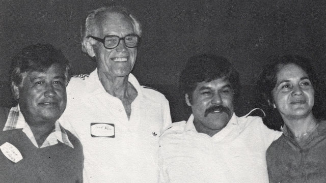 PHOTO: Fred Ross Sr. (second from left) with Cesar Chavez, Luis Valdez and Dolores Huerta.