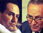 PHOTO:An image of then-Rep. Charles Schumer at a House committee meeting in 1985, alongside an image of Sen. Schumer in his Brooklyn district this March.
