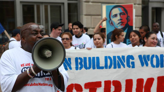 PHOTO:Low-wage earners went on strike on Tuesday, May 21, 2013, at federal buildings in Washington, D.C. They are demanding that President Obama sign an executive order or legislation guaranteeing federally backed low-wage earners a living wage.