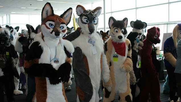 PHOTO: Furries hanging out at Anthrocon.