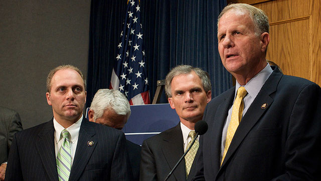PHOTO: Congressman Ted Poe (R-Texas) speaks at a 2009 press conference as other lawmakers look on.
