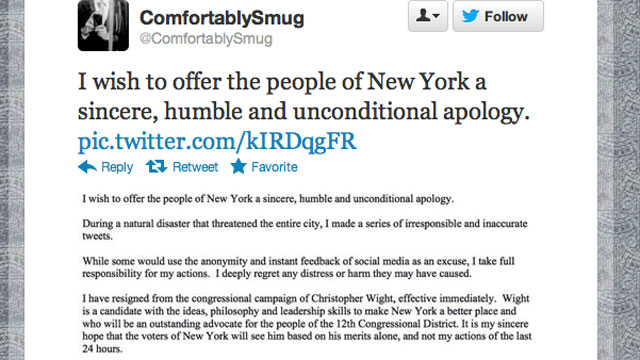 PHOTO: A Twitter troll who spread false rumors about the impacts of Hurricane Sandy has resigned from his position as campaign manager for a New York congressional candidate.