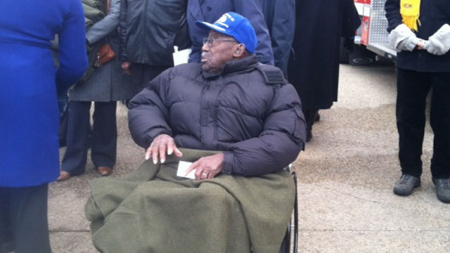 PHOTO: A veteran attends the inauguration.