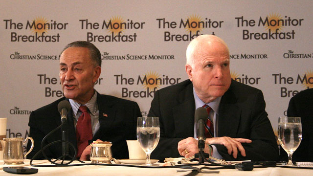 PHOTO: Sens. Chuck Schumer (D-N.Y.), left, and John McCain (R-Ariz.), right, speak at a breakfast sponsored by the Christian Science Monitor on April 25, 2013.