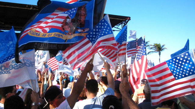 PHOTO:A political rally outside the Capitol of Puerto Rico for Pedro Rosselló, gubernatorial candidate of the pro-statehood New Progressive Party; San Juan, Puerto Rico, 2 March, 2008.
