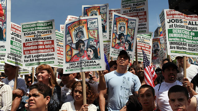 PHOTO: Hundreds of activists, supporters of illegal immigrants and members of the Latino community rally against a new Arizona law in Union Square on May Day on May 1, 2010 in New York City.