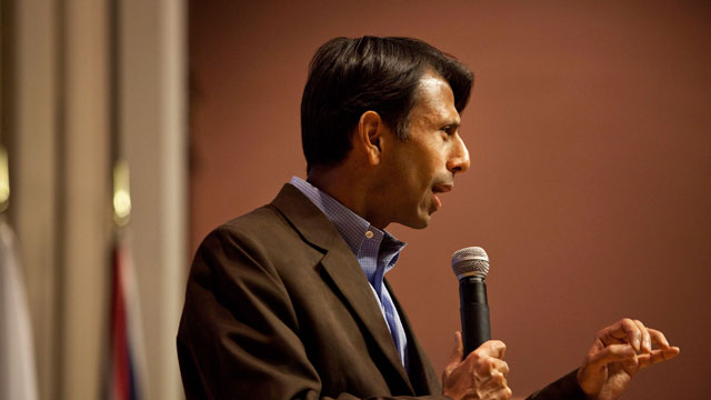 PHOTO: Louisiana Gov. Bobby Jindal speaks to Principal Financial Group employees in support of Republican presidential candidate, Texas Gov. Rick Perry on the day of the Iowa Caucus January 3, 2012 in Des Moines, Iowa.