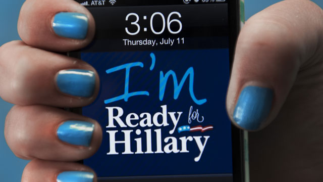 PHOTO:A dressed up I-Phone is seen in this posed photo at the 'Ready For Hillary' Super PAC offices working on behalf of undeclared US Presidential candidate and former US Secretary of State Hillary Clinton July 11, 2013
