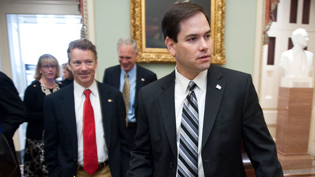 PHOTO:From left, Sen.-elect Rand Paul, R-Ky., and Sen.-elect Marco Rubio, R-Fla., leave the Mansfield Room during a break in freshman orientation on Wednesday, Nov. 17, 2010.