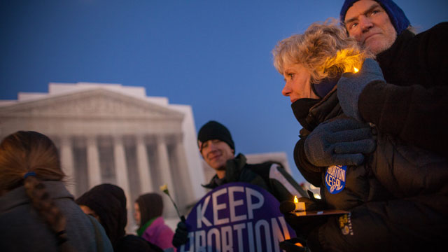 PHOTO: A vigil organized by the National Organization for Women in front of the U.S. Supreme Court January 22, 2013 in Washington D.C. commemorates the 40th anniversary of Roe v. Wade, the Supreme Court decision that legalized abortion.
