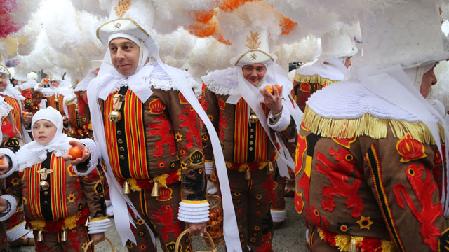 PHOTO: Carnival celebrations in Binche, Belgium.