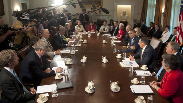 PHOTO: US President Barack Obama (center R) holds a Cabinet Meeting in the Cabinet Room of the White House in Washington, DC, July 26, 2012.