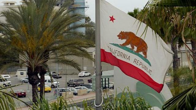 PHOTO:The California state flag flies in Burbank, California.
