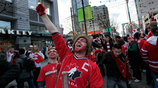 PHOTO: A Canadian hockey fan celebrates victory over the U.S. in the 2010 Olympics.