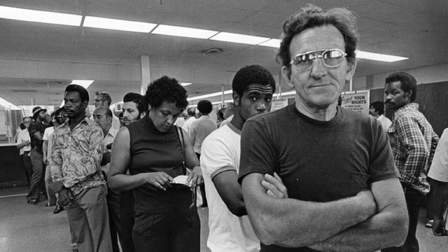 PHOTO: Unemployed autoworkers queuing at an unemployment office in Detroit, Michigan.