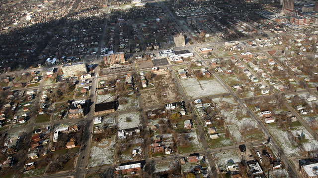 PHOTO: A neighborhood stands with numerous empty lots on November 21, 2008 in Detroit, Michigan.