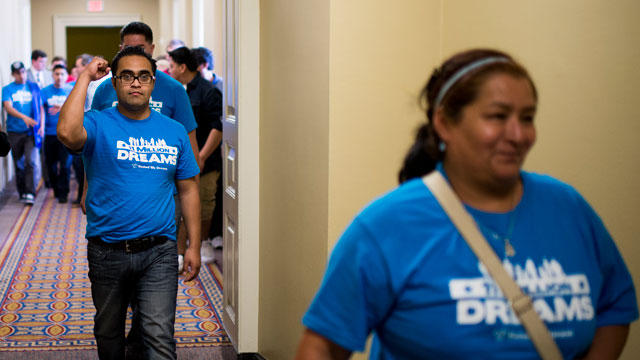 PHOTO:Immigration reform supporters leave the Senate chamber in the Capitol after watching passage of the Senate immigration reform bill on Thursday, June 27, 2013.
