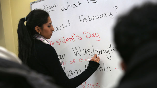 PHOTO:Instructor Fareeha Haq teaches Pakistani immigrants during an English and U.S. citizenship class at the office of the Council of Peoples Organization (COPO), on February 6, 2013 in New York City.