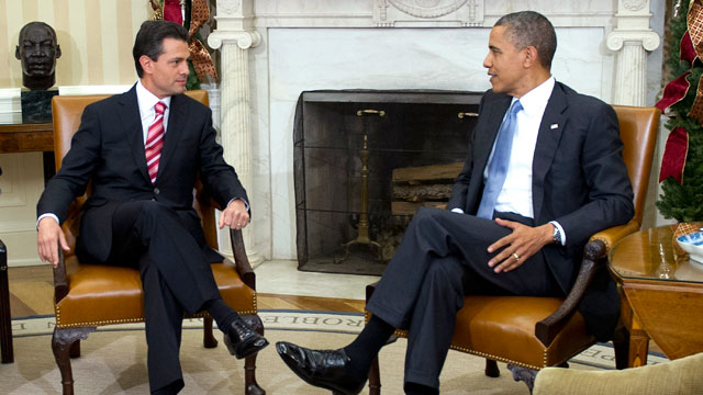 PHOTO: U.S. President Barack Obama, right, meets with Enrique Pena Nieto, president-elect of Mexico, in the Oval Office of the White House in Washington, D.C., U.S., on Tuesday, Nov. 27, 2012.