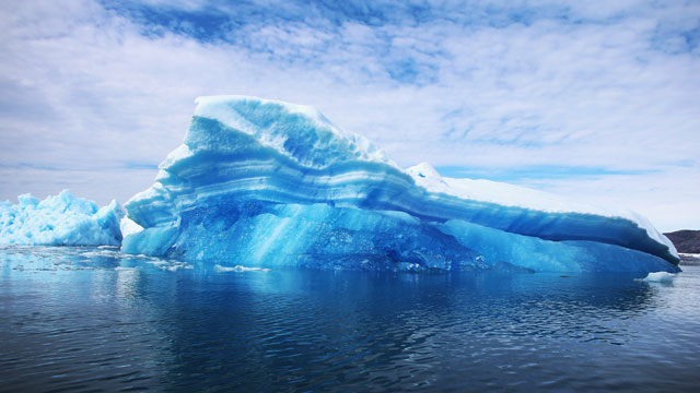 PHOTO:Calved icebergs from the nearby Twin Glaciers are seen floating on the water on July 30, 2013 in Qaqortoq, Greenland.