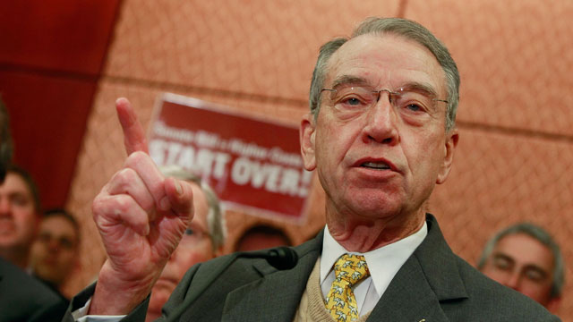PHOTO:Sen. Charles Grassley (R-Iowa) speaks about the health care bill during a news conference on Capitol Hill on December 9, 2009 in Washington, D.C.