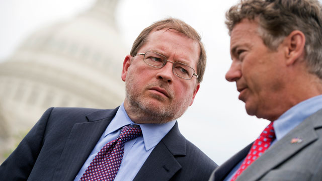 PHOTO:Grover Norquist, left, president of Americans for Tax Reform, and Sen. Rand Paul, R-Ky., attend a news conference at the House Triangle to oppose the Marketplace Fairness Act, also called the internet tax.