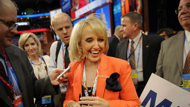 PHOTO: Janice Kay Jan Brewer, governor of Arizona, smiles after speaking at the Republican National Convention (RNC) in Tampa, Florida, U.S., on Tuesday, Aug. 28, 2012.