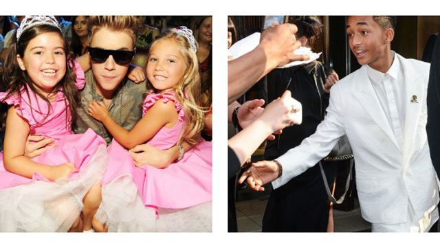 PHOTO: Sophia Grace & Rosie pose with Justin Bieber at the 2102 Teen Choice Awards, Jaden Smith greets fans in NYC. And Im getting sandwich crumbs stuck in my keyboard.