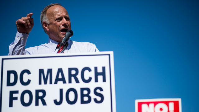 PHOTO: Rep. Steve King, R-Iowa, speaks during the Black American Leadership Alliances D.C. March for Jobs rally at Freedom Plaza in Washington on Monday, July 15, 2013.