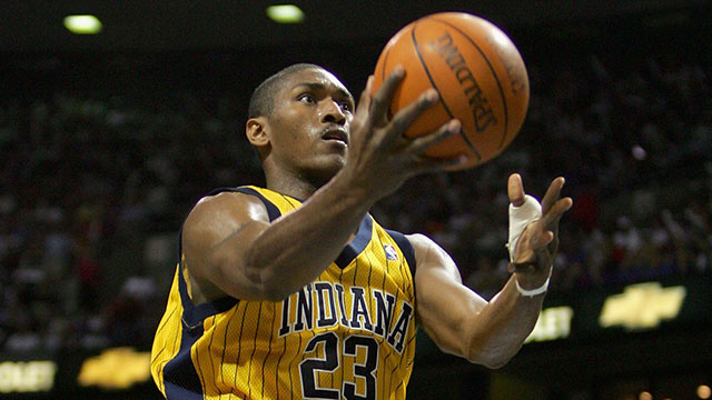 PHOTO:Ron Artest of the Indiana Pacers goes to the basket past Rasheed Wallace #30 of the Detroit Pistons in Game six of the Eastern Conference Finals during the 2004 NBA Playoffs at The Palace of Auburn Hills on June 1, 2004 in Auburn Hills, Michigan.