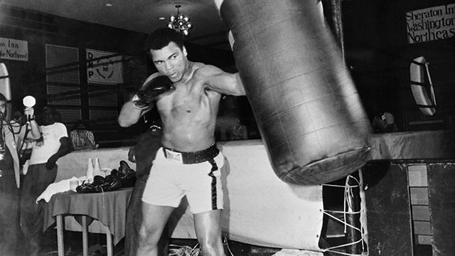 PHOTO: Heavyweight world boxing champion Muhammad Ali is seen during a training session on April 23, 1976 in Washington before his heavyweight world championship fight against Jimmy Young on April 30, 1976 in Landover, Maryland.