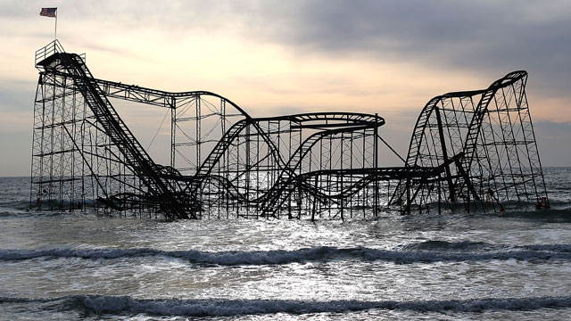 PHOTO: The Star Jet roller coaster remains in the water after the Casion Pier it sat on collapsed from the forces of Superstorm Sandy, February 19, 2013 in Seaside Heights, New Jersey.