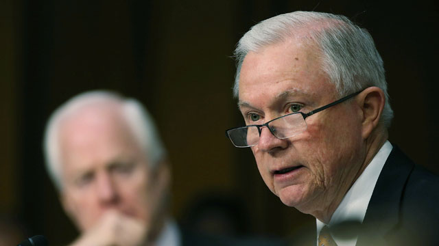 PHOTO:Sen. Jeff Sessions (R-Ala.) (R) speaks while Sen. John Cornyn (R-Texas) listens, during a Senate Judiciary Committee hearing on immigration reform on April 22, 2013 in Washington, D.C.
