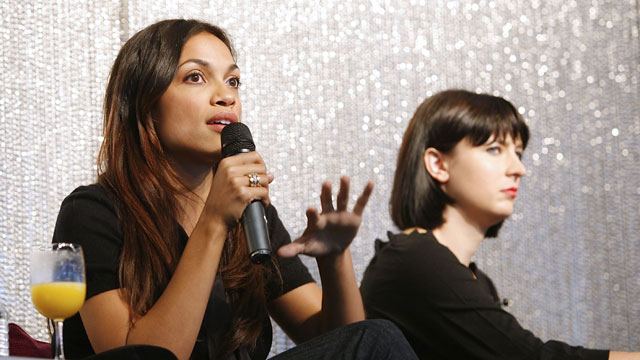 PHOTO:Actress and Co-Founder, Vote Latino Rosario Dawson speaks during the Election Effect Panel Discussion at MTV Networks Offices on October 14, 2008 in New York City.