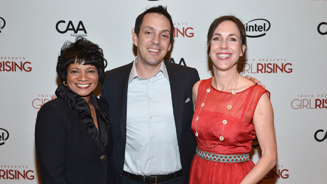PHOTO:Chief Diversity Officer & Global Director of Education and External Relations for Intel Roz Hudnell, director Richard Robbins and producer Martha Adams attend a screening of 10x10's 'Girl Rising' on March 7, 2013 in Los Angeles, California.