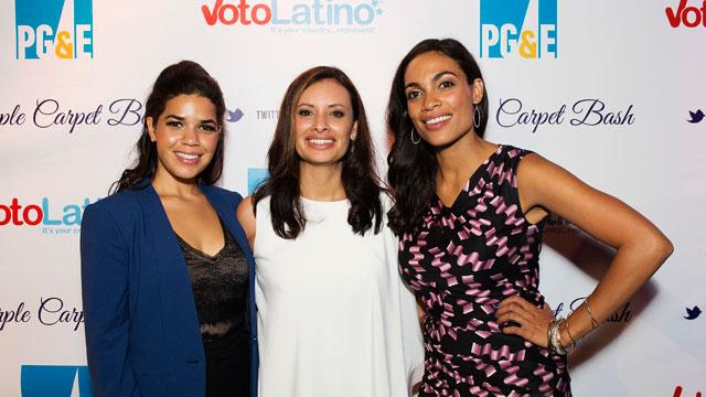 PHOTO:(L-R) America Ferrera, Maria Teresa Kumar, and Rosario Dawson attend Voto Latino's Purple Carpet Bash at All American Pub on September 5, 2012 in Charlotte, North Carolina.