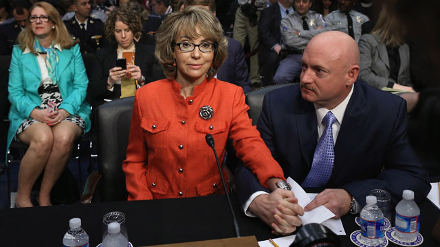 PHOTO:Retired NASA astronaut Mark Kelly (R) and his wife, shooting victim and former U.S. Rep. Gabby Giffords (D-AZ) prepares to give a statement before the Senate Judiciary Committee during a hearing on Capitol Hill January 30, 2013 in Washington, DC.