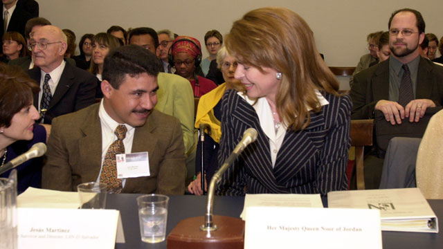 PHOTO:Jesus Martinez a lindmine survivor, listens to Queen Noor of Jordan as she testifies before the House Human Rights Caucus Hearing on an appeal for U.S. humanitarian assistance for landmine survivors.