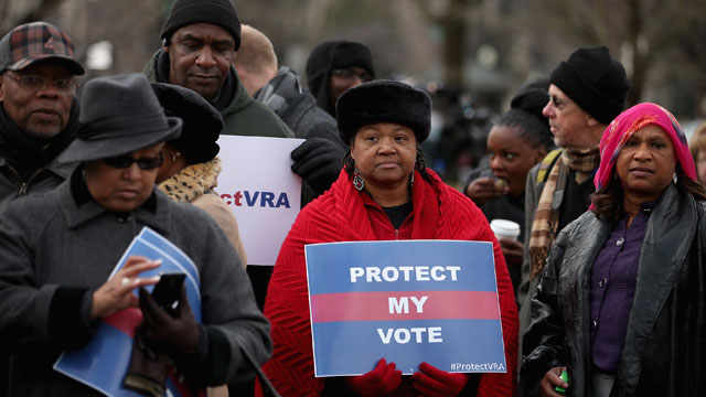 PHOTO: Residents from Alabama stand in line outside the U.S. Supreme Court for a chance to hear oral arguments February 27, 2013 in Washington, DC, for Shelby County v. Holder, a legal challenge to Section 5 of the Voting Rights Act.
