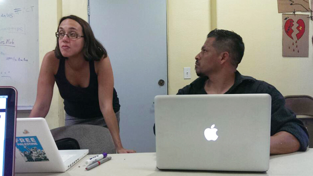 PHOTO: Mamita Mala teaches a social media workshop to members of VozMob in Pico Union, Los Angeles.