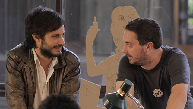 """PHOTO:Actor Gael Garcia Bernal (left) and director Pablo Larrain (right) on the set of the Oscar-nominated film """"NO."""""""