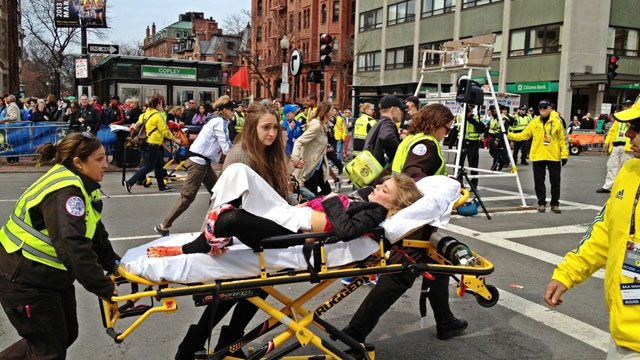 PHOTO:Jeff Wurm, who was attending the Boston Marathon to see his wife run, captured this photo of a victim from the Boston Marathon explosions.