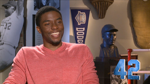 PHOTO: Actor Chadwick Boseman discusses his role in the new film about Jackie Robinson.
