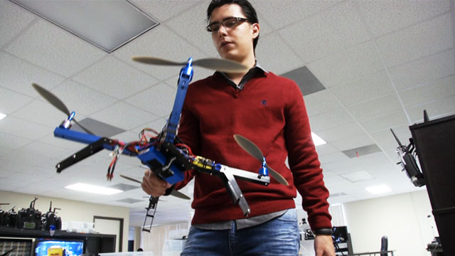 PHOTO:Jordi Muñoz, 26, president of 3D Robotics, shows off a quadcopter, one of drones his company designs and manufactures.