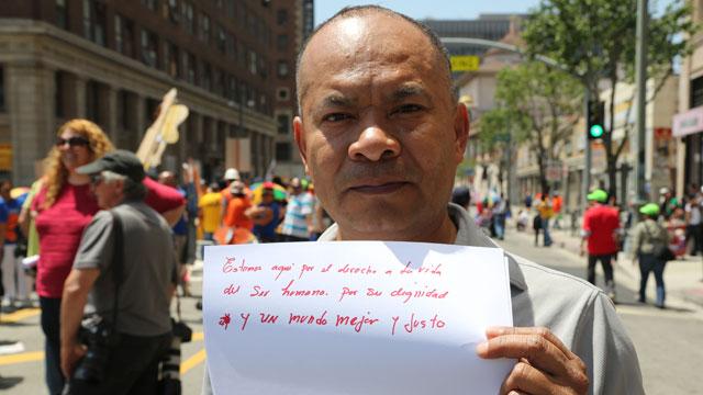 PHOTO:Juan Jose Mangandi demonstrates at a May Day rally in Los Angeles.
